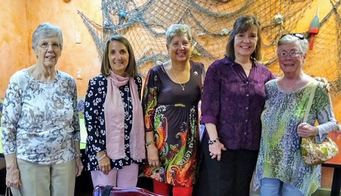 (left to right): Pat Brown Gates, Class of 63; Lisa Friedman, Class of 1987; Gail Ellis, Class of 1976; Fran Bauman, Class of 1976; and Ruth Strickler Class of 1952.