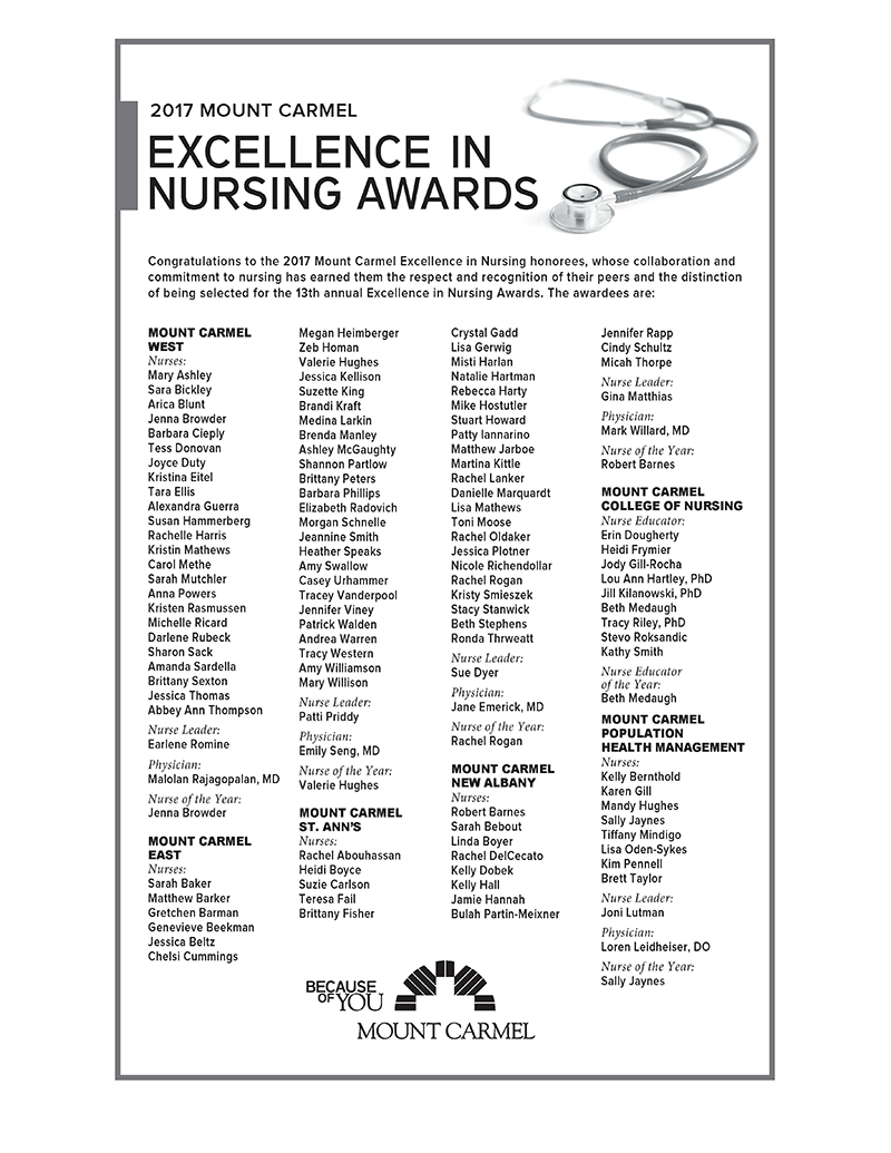 Mccn colleagues celebrated at 2017 excellence in nursing awards excellence ad 2017 xflitez Images